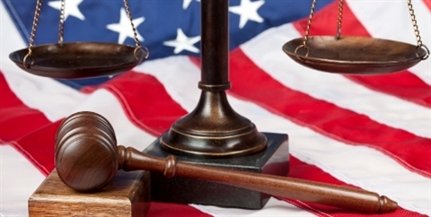 Scales of Justice and the American Flag