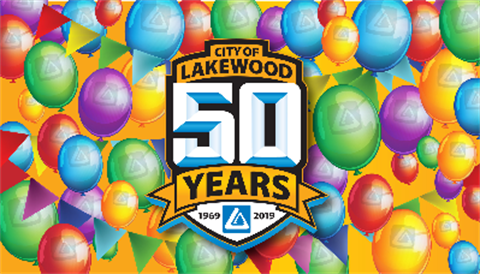 City of Lakewood 50 Years 1969-2019 celebration logo.