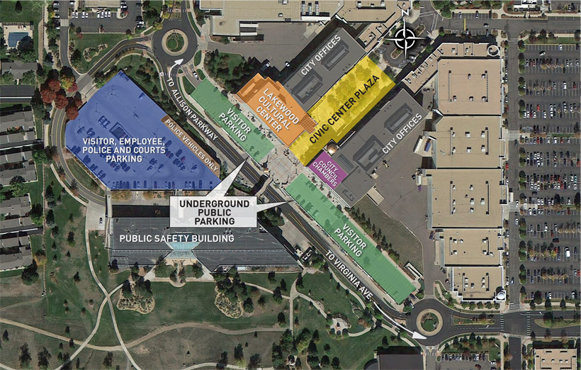 Parking map for the Civic Center