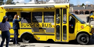 Burger bus serves people in a parking lot.