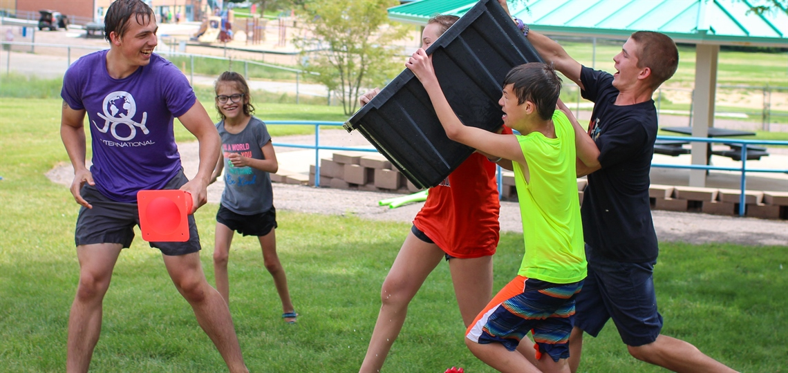 Campers having fun outside at Camp Paha
