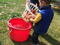 Boy washing apples for pressing
