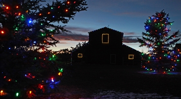 Red Barn decorated with holiday lights