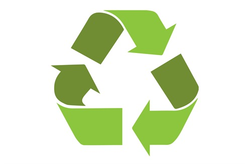 A green recycling icon.