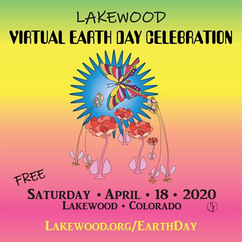 Virtual Earth Day Graphic with colorful butterfly and multi-colored graphic