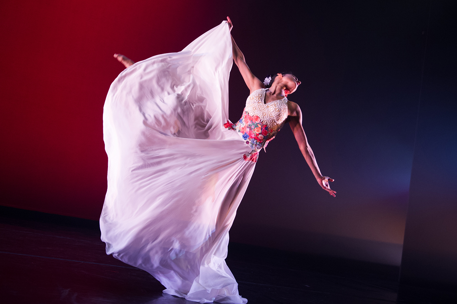 A dancer from Ballet Hispánico performing in Con Brazos Abiertos.