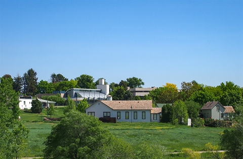 View of Lakewood Heritage Center and historic structures on the property.