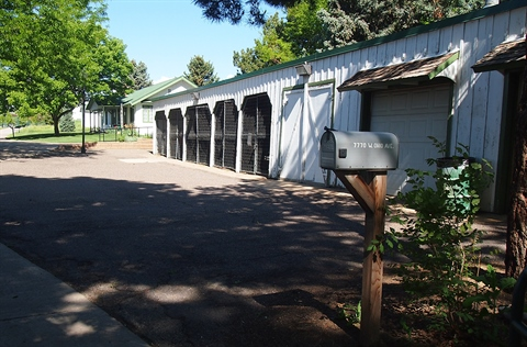 A front view of the tractor sheds historic structure.
