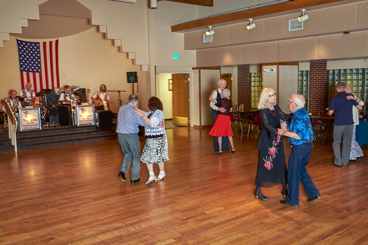 Participants dance during a Saturday Night Dance.