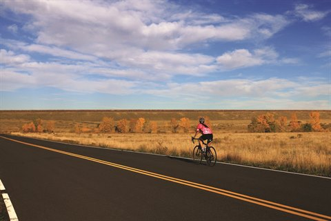 A biker heads down an empty road in Bear Creek Lake Park.