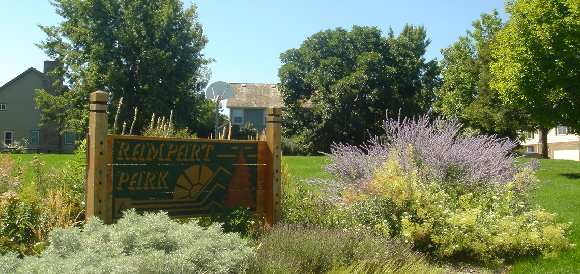 Rampart Park sign and garden
