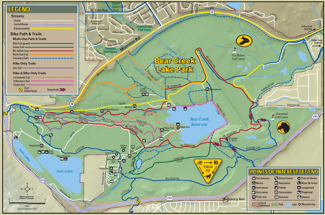 A map of bike paths within Bear Creek Lake Park.