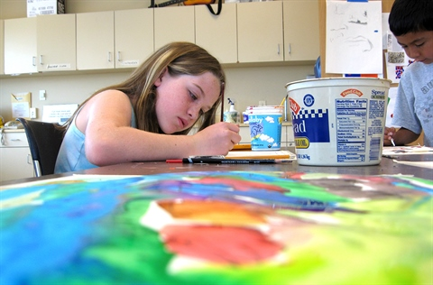 A child paints during a class at Washington Heights Art Center.