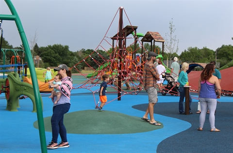 The new Carmody Park welcomes visitors at its grand opening.