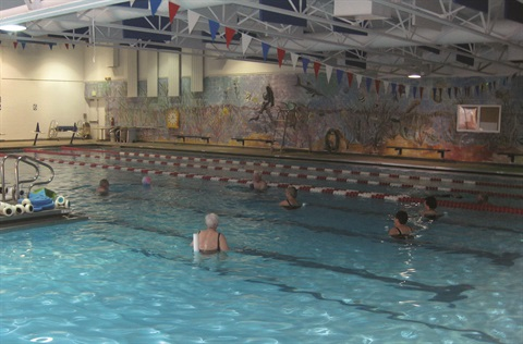Residents swim in Green Mountain's indoor pool.