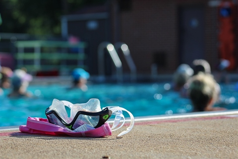 goggles at an outdoor pool