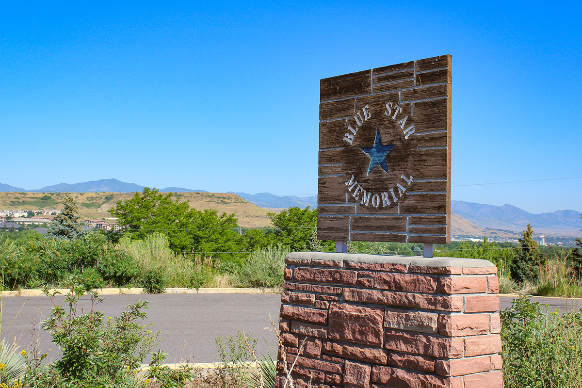 The Blue Star Memorial Highway sign.
