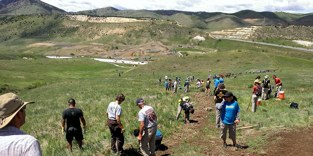 Volunteers work on a trail in a regional park.