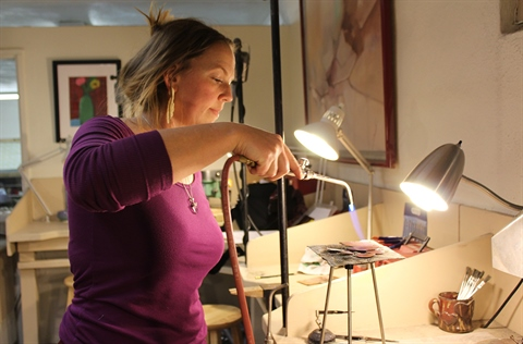 Jewelry creation happens in the Washington Heights Arts Center.