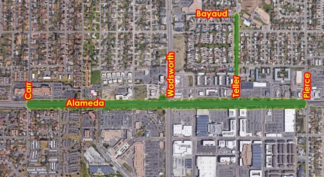 Map showing Carr to Pierce St and Teller to Bayaud