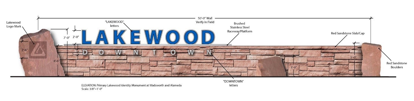 Drawing of stone wall feature with the words Lakewood, Downtown and the city logo.