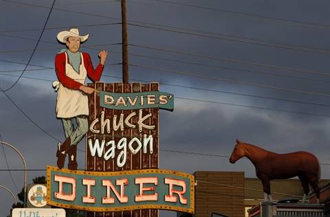 Sign for Davies Chuck Wagon Diner on Colfax.