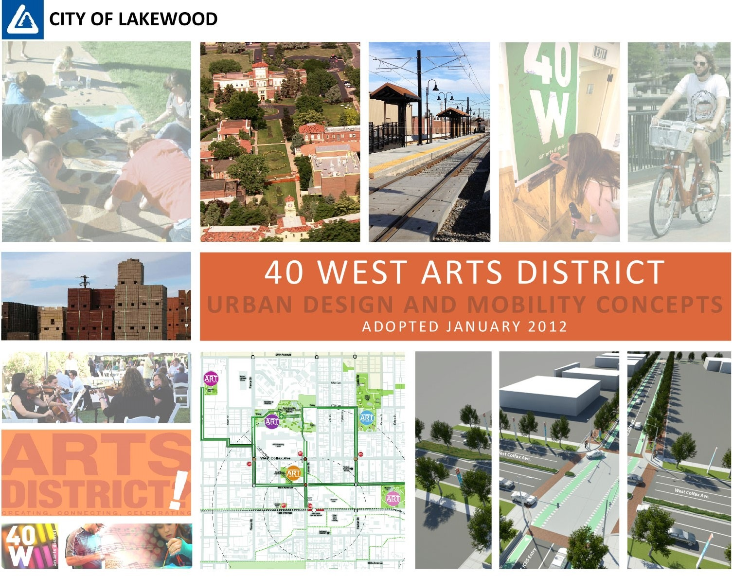 The cover for the 40 West Arts District: Urban Design and Mobility Concepts Plan.