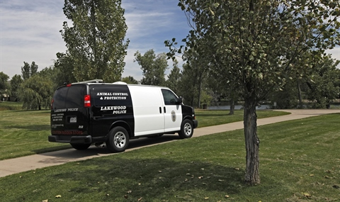 Animal Control van in the park.