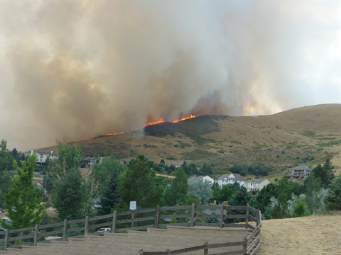 Green Mountain fire burning.